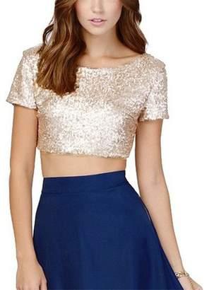 9b00fc37ea3 YULUOSHA Women s Sparkle Sequins Top Tanks Backless Short Sleeve Crop Vest  Blouse Short T-Shirt