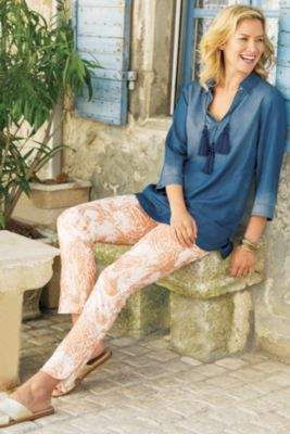 Soft Surroundings Shimmer Paisley Pants