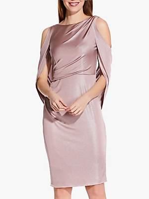 Adrianna Papell Draped Cold Shoulder Short Dress, Pink Quartz