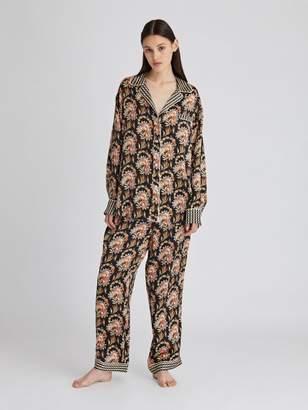 Oscar de la Renta Tapestry Floral Satin Crepe Pajama Pant