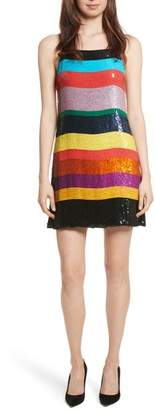 Alice + Olivia Bridget Striped Sequin Slipdress