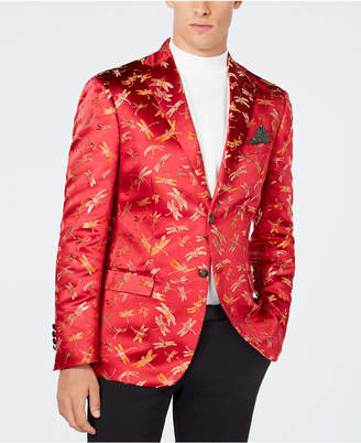 Tallia Men's Slim-Fit Red Dragonfly Jacquard Dinner Jacket