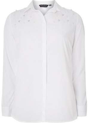 Dorothy Perkins Womens White Plain Embellished Shirt