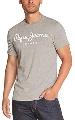 Pepe Jeans Men's ORIGINAL STRETCH Logo Crew Neck Short sleeve T-Shirt - Grey - 933_Gris (GREY MARL) - (Brand size: L)