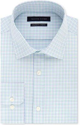 Tommy Hilfiger Men's Fitted Stretch Flex Collar Blue & Green Check Dress Shirt