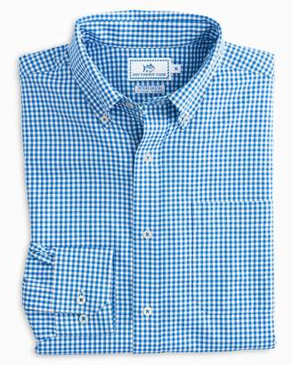 Southern Tide Team Colors Gingham Intercoastal Performance Sport Shirt