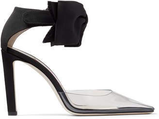 Jimmy Choo GLINDA 100 Clear Plexi Heel with Black Bow Velcro Fastening