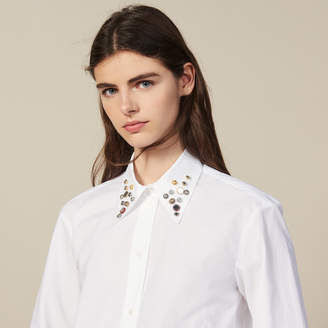 Sandro Asymmetric Shirt Trimmed With Studs