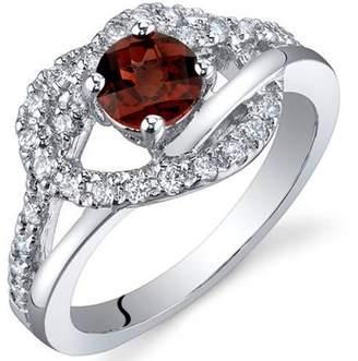 Oravo 0.50 Carat T.G.W. Garnet Rhodium-Plated Sterling Silver Engagement Ring