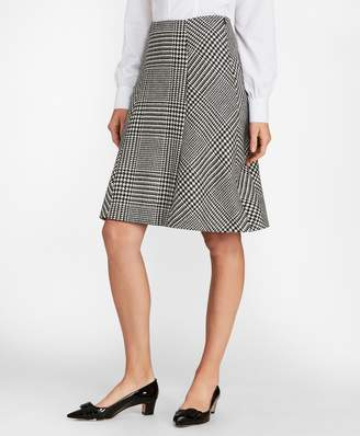 Brooks Brothers Glen Plaid Wool Twill A-Line Skirt
