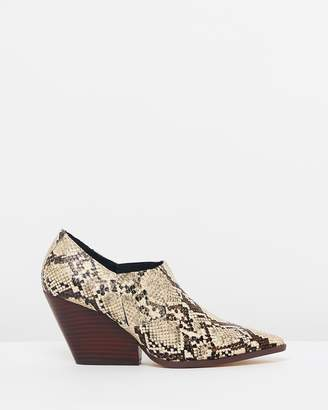 Mng Snake-Effect Ankle Boots