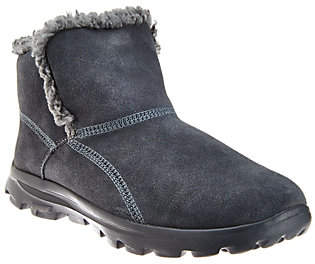 Skechers GOwalk Suede Faux Fur Boots w/Memory Form Fit
