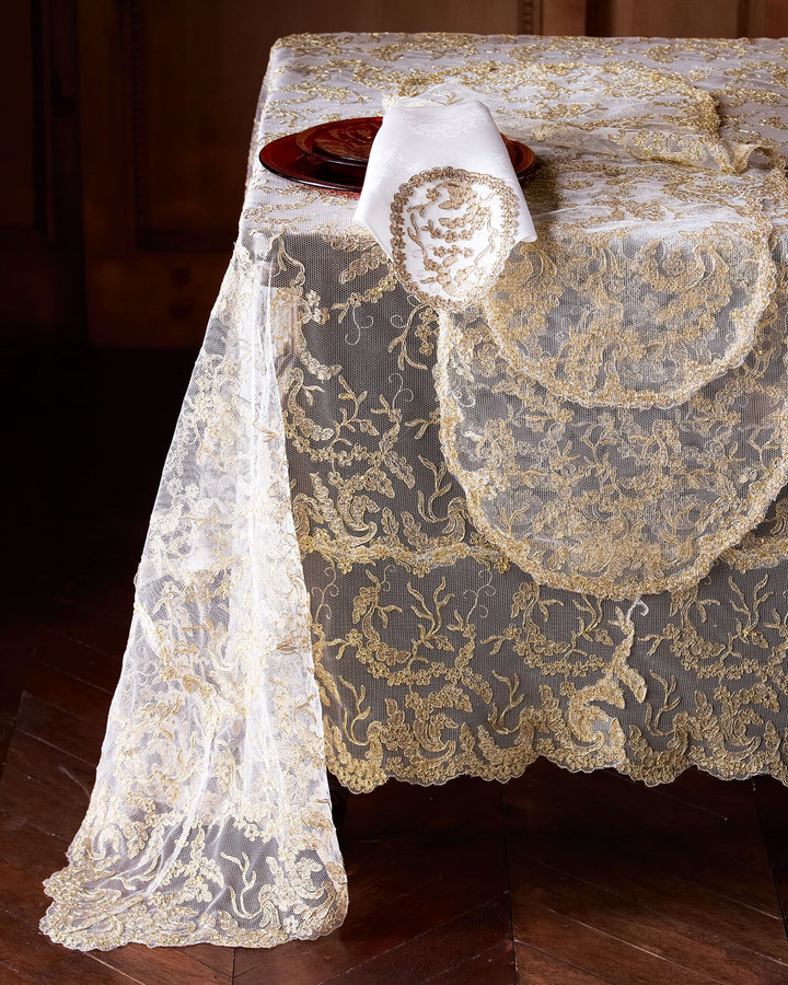 Golden Lace Table Linens