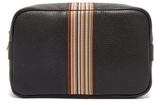 Signature Stripe Grained Leather Wash Bag - Mens - Black