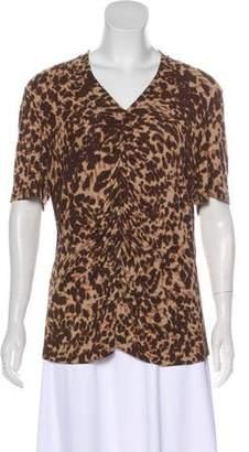 Lafayette 148 Short Sleeve Leopard Print Top