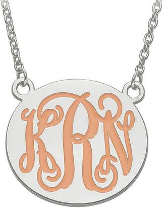 FINE JEWELRY Personalized 26mm Sterling Silver Enamel Monogram Necklace