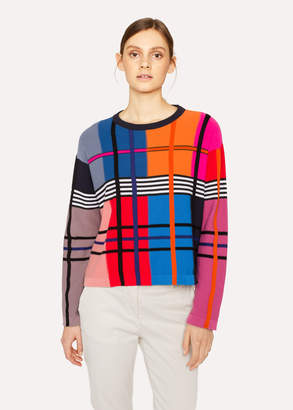 Paul Smith Women's Colour-Block Check Merino Wool-Blend Knitted Sweater