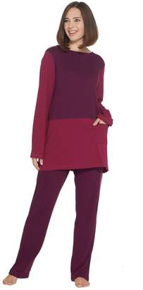 Carole Hochman Extra Brushed Interlock Color Block Tunic & Slim Pant Set
