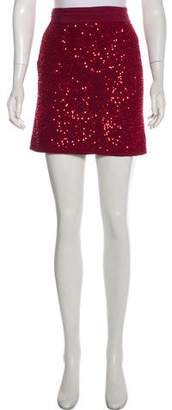 Alice + Olivia Sequin-Accented Mini Skirt