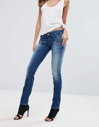 Replay Mid Rise Biker Jeans with Zip Pockets