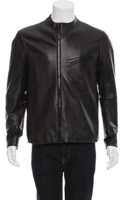 Emporio Armani Leather Cafe Racer Jacket