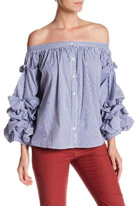 Gracia Stripe Off-the-Shoulder Ruffle Sleeve Blouse