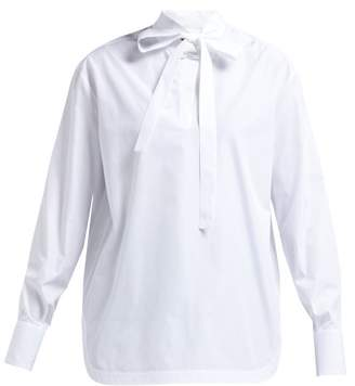 Valentino Neck Tie Cotton Blend Poplin Shirt - Womens - White