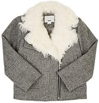 DINUI Kids' Shearling-Trimmed Wool-Blend Moto Jacket - Gray