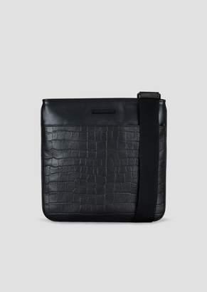 Emporio Armani Smooth And Croc Print Leather Messenger Bag