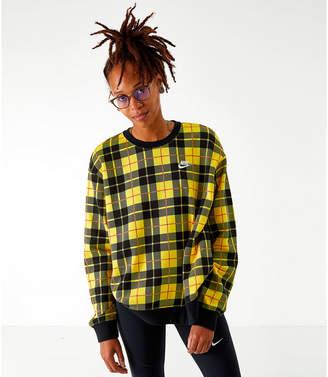 Nike Women's Woven Printed Fleece Crewneck Sweatshirt