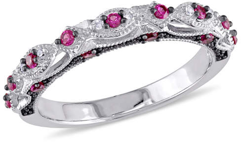 Ruby & Diamond-Accent Vintage Anniversary Band