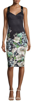 Ted Baker London Jayer Gem Gardens Fitted Sheath Dress, Black $279 thestylecure.com