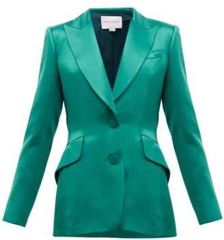 Carolina Herrera Single Breasted Satin Jacket - Womens - Green