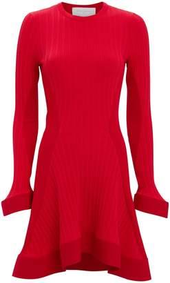 Esteban Cortazar Red Knit Ruffle Hem Mini Dress