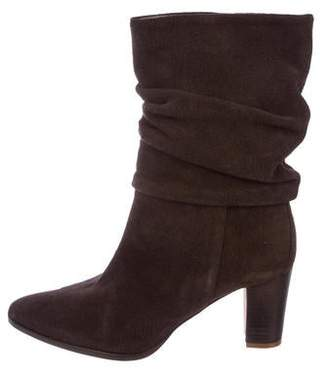 Manolo Blahnik Gathered Suede Ankle Boots