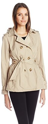 Madden Girl Women's Double Breasted Medium Length Hooded Trench Coat $120 thestylecure.com