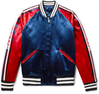 Gucci Reversible Webbing-Trimmed Satin-Twill Bomber Jacket