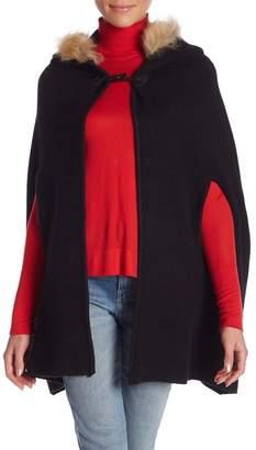 Molly Bracken Faux Fur Trimmed Hooded Cape Poncho
