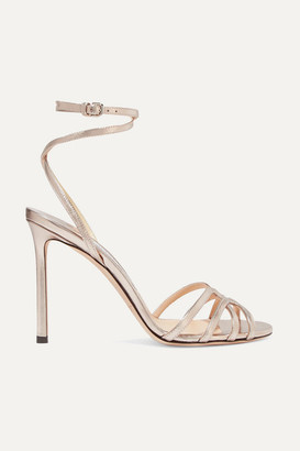 Jimmy Choo Mimi 100 Metallic Leather Sandals - Platinum