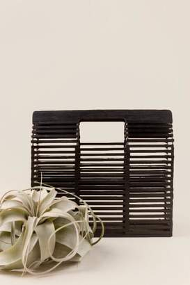 francesca's Small Tahiti Square Wooden Clutch - Black
