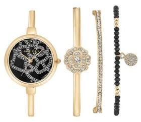 Anne Klein Four-Piece Crystal Bangle Watch and Bracelet Set