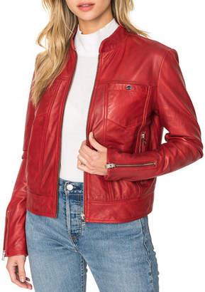 LAMARQUE Natana Chest Pocket Leather Moto Jacket