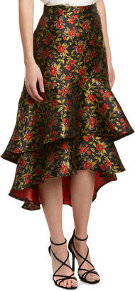 Champagne & Strawberry Floral Midi Skirt