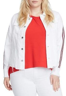 Rachel Roy Plus Curvy Staggered Denim Jacket
