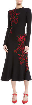 Oscar de la Renta Long-Sleeve Crewneck Floral-Embroidered Flared Knit Dress