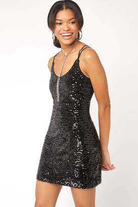 Black Swan Strappy Sequin Velvet Dress