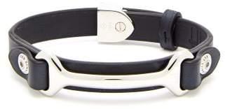 Dunhill Hex Leather Bracelet - Mens - Navy