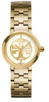 Tory Burch Tory Burch Reva Goldtone Stainless Steel Bracelet Watch/Ivory