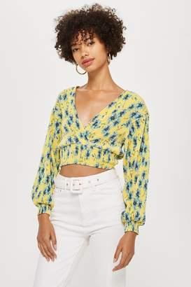 Topshop Womens Floral Plisse Wrap Top - Yellow