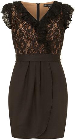 Dorothy Perkins Black lace wrap dress
